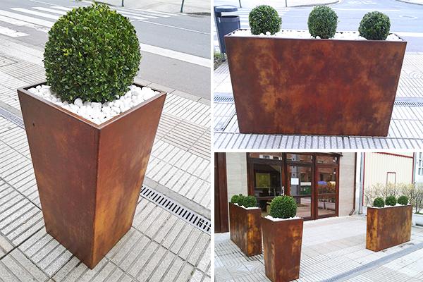 Fabricaci n de jardineras en acero corten for Acero corten perforado oxidado