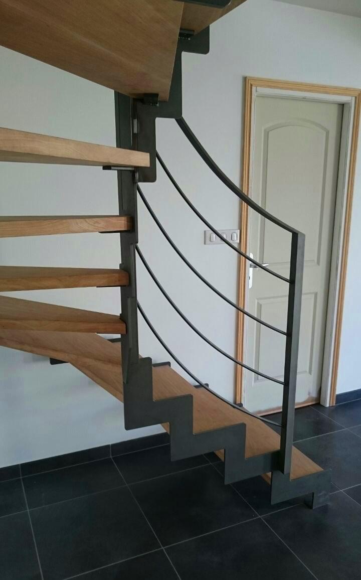 Escalera modelo urrugne compensada en acero granallado y con pelda os de madera - Peldanos de madera para escalera precios ...