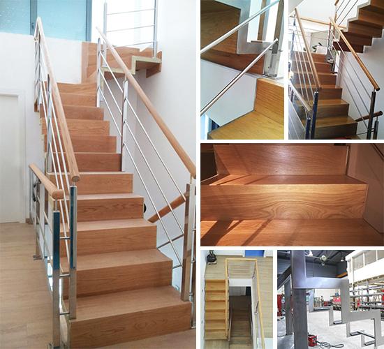 Escalera met lica con pelda os de madera de roble en - Peldanos de escaleras ...
