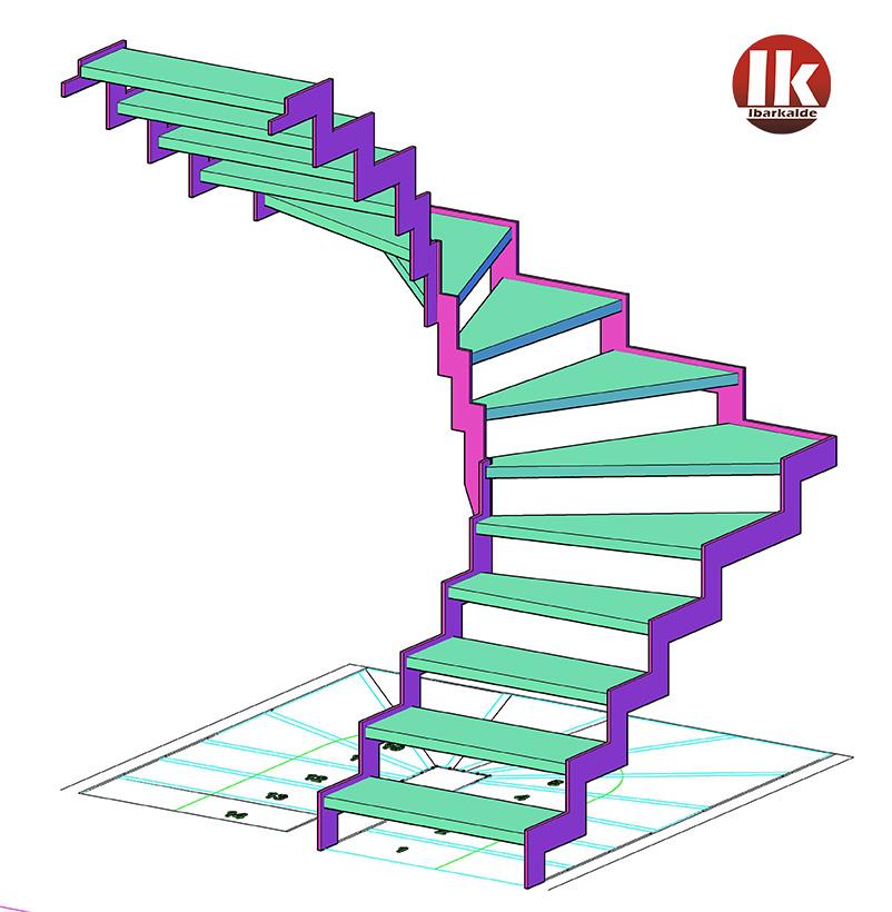 Escalera compensada en acero granallado y con pelda os de - Escaleras con peldanos de madera ...