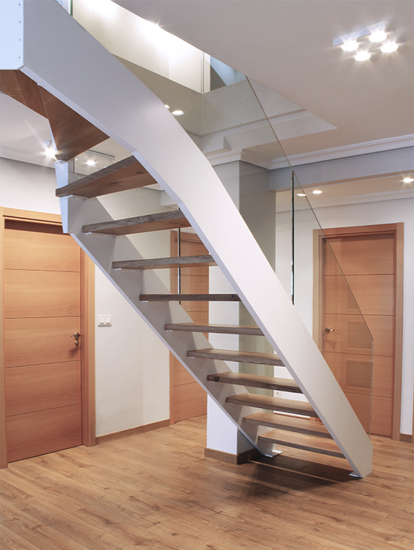 Escalera modelo l niz escalera de doble zanca con for Soluciones para escaleras